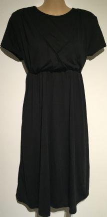 BLACK JERSEY SHORT SLEEVED MATERNITY/NURSING DRESS SIZE 8